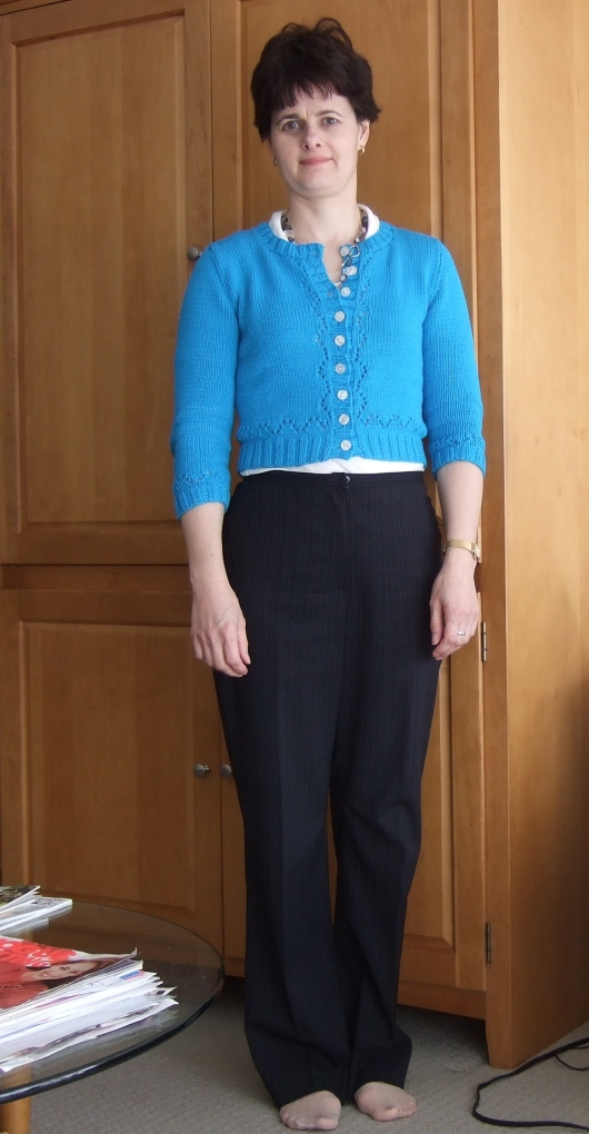 Miecomb cardigan, Burdastyle lightweight wool pinstripe pants, jersey knit top. Once again a cropped cardigan doesn't hit the wasitband of these pants.